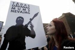 Митинг противников нелегальной иммиграции. Рига, 22 сентября