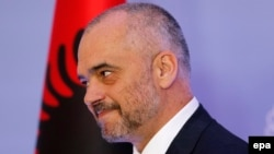 Albania -- Albanian Prime Minister Edi Rama speaks during his press conference on his visit to Serbia, in Tirana, November 12, 2014