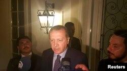 თურქეთის პრეზიდენტი რეჯეპ ტაიპ ერდოანი საკურორტო ქალაქ მამარისში, ჟურნალისტებთან შეხვედრისას