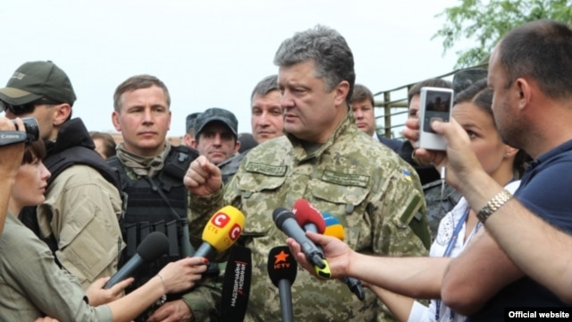 President Poroshenko announced the cease-fire on a working trip to the Donetsk region.