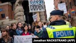 """""""Швед демократтары"""" партиясы мен оның жетекшісіне қарсы наразылық шарасы. Швеция, 7 қыркүйек 2018 жыл"""
