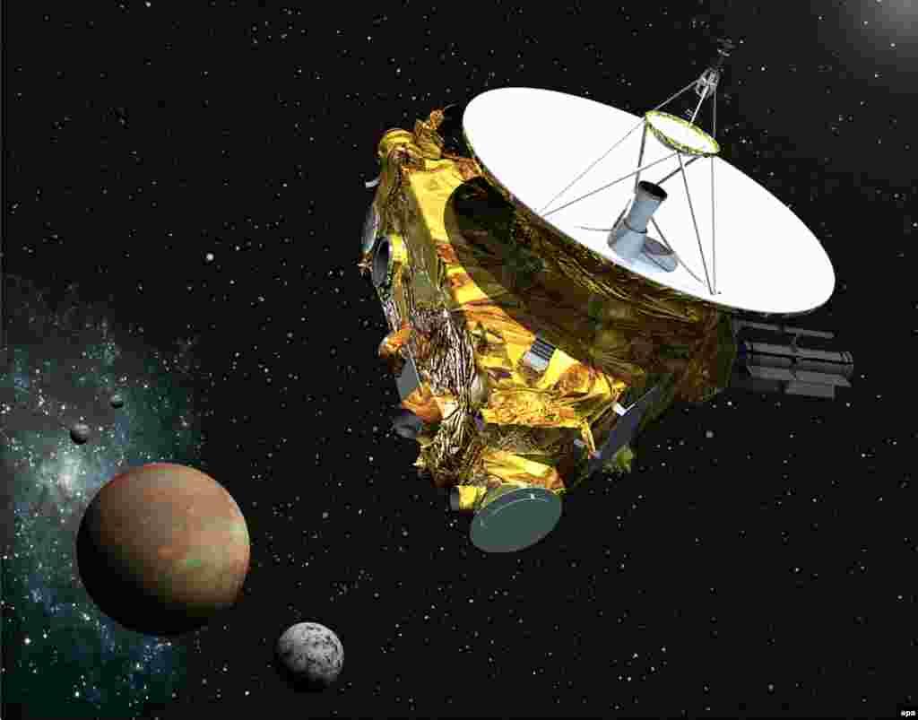 New Horizonsның Плутонга һәм аның иярченнәренә якынаюын рәссам шулай күрә.