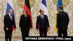 Лидеры «нормандской четверки» во время встречи в Минске, февраль 2015.