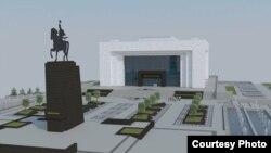 Учурда оңдолуп жаткан Тарых музейинин эскизи. Музей оңдоп-түзөө үчүн 25-мартта жабылган. Ремонт 31-августта бүтүшү керек.