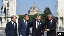 Roma- Premierul Maltei, Joseph Muscat, Președintele Consiliului European, Donald Tusk, Președintele Parlamentului European, Antonio Tajani și premierul Italiei Paolo Gentiloni îniante de summitul UE de la Roma