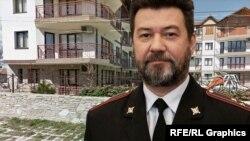 Российский генерал-майор Тимур Валиулин и дом, квартирами в котором он владел, коллаж