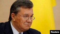 Бывший президент Украины Виктор Янукович на своей пресс-конференции. Ростов-на-Дону, 28 февраля 2014 года.