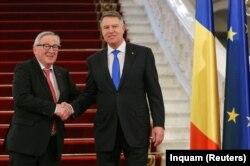 Președintele Klaus Iohannis primindu-l astăzi pe președintele CE, Jean-Claude Juncker, la București