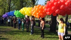 Gay rights activists hold a rally in St. Petersburg earlier this year.