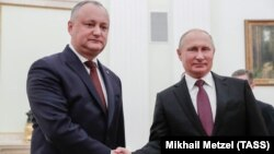 Ռուսաստանի նախագահ Վլադիմիր Պուտինը ընդունում է Մոլդովայի նախագահ Իգոր Դոդոնին, Մոսկվա, 31-ը հոկտեմբերի, 2018թ․