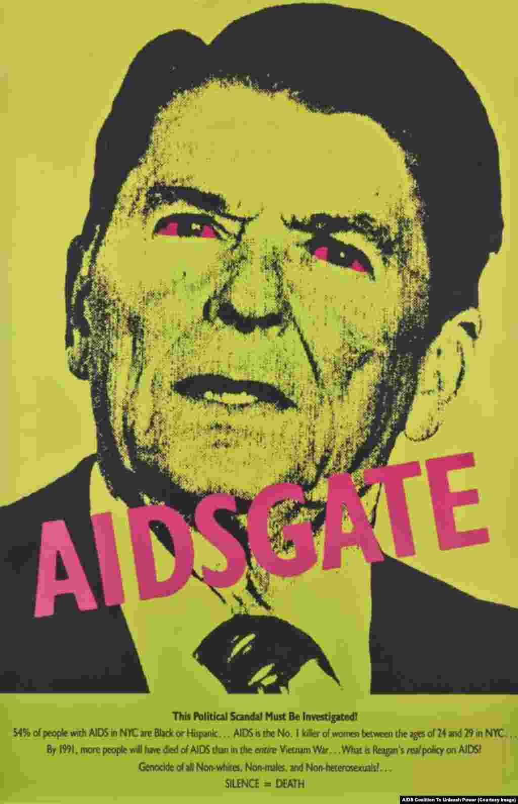 A 1987 poster by the AIDS Coalition To Unleash Power demands that U.S. President Ronald Reagan address the AIDS epidemic.