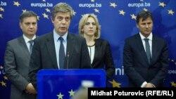 Denis Zvizdić, Lars-Gunnar Wigemark, Željka Cvijanović i Fadil Novalić