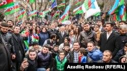 Акция протеста против последствий девальвации. Баку, Азербайджан, 15 марта 2015 года.