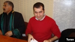Baxtiyar Haciyev in a Baku courtroom during his trial last year