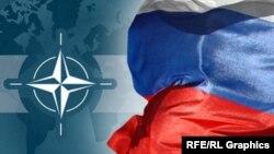 НАТО белгісі және Ресей туы. (Көрнекі сурет)