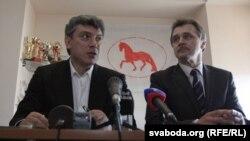 Барыс Нямцоў і Анатоль Лябедзька. Менск, красавік 2013-га