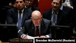 Russian ambassador to the U.N. Vasily Nebenzya speaks during a UN Security Council meeting on Syria at the United Nations headquarters in New York, February 22, 2018