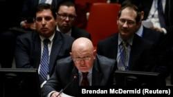 Постоянный представитель России ООН Василий Небензя на заседании Совета Безопасности.