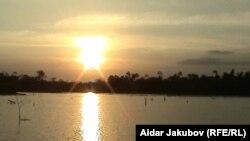 Закат в камбоджийских джунглях