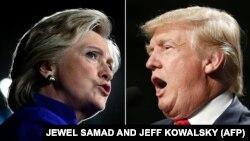 Хиллари Клинтон (л) и Дональд Трамп (п)