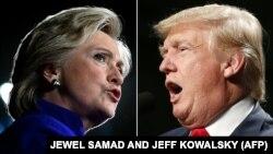 US Democratic presidential nominee Hillary Clinton in Tempe, Arizona, on November 2, 2016 and US Republican Presidential nominee Donald Trump in Warren, Michigan on October 31, 2016.