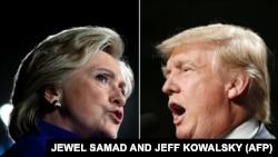 АҚШ президенттігіне кандидаттар Хиллари Клинтон мен Дональд Трамп.