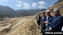 Armenia -- President Serzh Sarkisian visits the Teghut mine, 19 April, 2014.