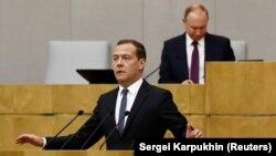 Дмитрий Медведев выступает перед депутатами Госдумы, 8 мая 2018 года
