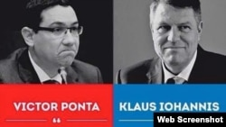 Romania, Victor Ponta (left) vs Klaus Iohannis (right) image from the campaign for the 2nd round of the presidential elections