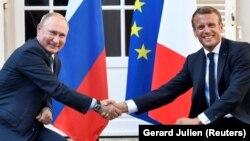 Ֆրանսիայի նախագահ Էմանյուել Մակրոն և Ռուսաստանի նախագահ Վլադիմիր Պուտին, Բրեգանսոն, 19-ը օգոստոսի, 2019թ․