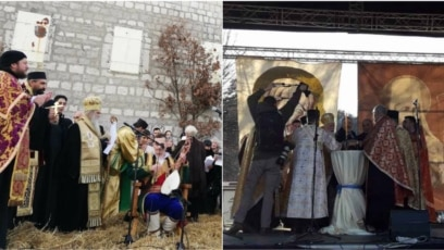 Montenegro -- Metropolitan of the Montenegrin-coastal Serbian Orthodox Church and Montenegrin Orthodox Church have gathered ahead of the Orthodox Christmas in front of monastery, in Cetinje, January 6, 2020.