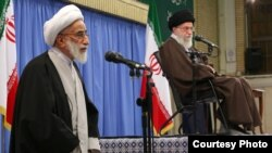 Iran -- Ahmad Jannati, secretary of Elites Council of Iran, with Ali Khamenei, IRI leader