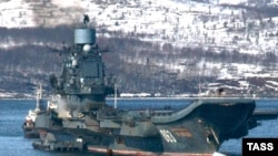 "The ""Admiral Kuznetsov"" cruiser at its main base in Severomors"