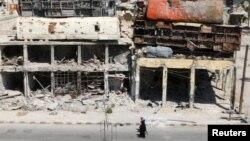 Սիրիա - Մարտական գործողությունների հետևանքով ավերակների վերածված շինություններ Հալեպի արվարձաններից մեկում, օգոստոս, 2016թ․