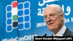 Спецпосланник ООН по Сирии Стаффан де Мистура. Брюссель, 25 апреля, 2018 год.