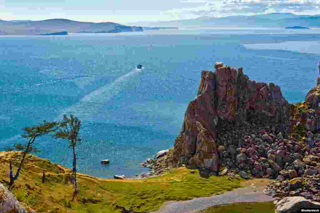 Rock Shamanka on island Olkhon, lake Baikal. It is photographed in clear solar weather.