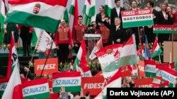 Kryeministri hungarez, Viktor Orban në marshin e mbajtur sot në Budapest.