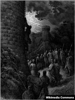 Гюстав Доре. Боэмунд взбирается на крепостную стену Антиохии.