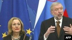 دیمیتری راپل، رییس اسلوونیایی اتحادیه اروپا (سمت راست) از از ایران خواست تا «رویکرد خصمانه» خود را علیه اسراییل متوقف کند. ( عکس: AFP)