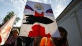 Архіўнае фота. Акцыя пратэсту ў Менску супраць расейскіх вайсковых базаў. 4 кастрычніка 2015 году