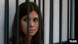 Nadezhda Tolokonnikova attends a court hearing to appeal for parole at the Supreme Court of Mordovia in Saransk in July.