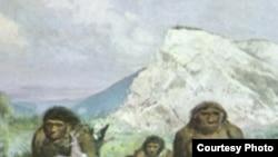 Зденек Буриан «Неандертальцы», картина из Музея человека в Брно