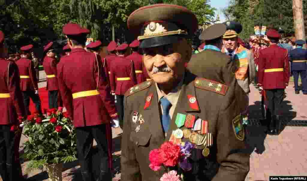 Kazakh veterans of World War II at Victory Day celebrations in Almaty.