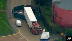 An aerial view of the scene in Essex where a truck was found to contain 39 bodies on October 23.