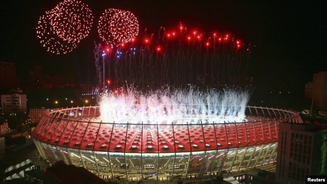 Fireworks above Kyiv's Olympic Stadium after the final