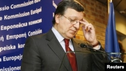 Jose Manuel Barroso, president of the European Commission, delivers a short statement following the conclusion of a meeting concerning Hungary in Strasbourg on January 17.