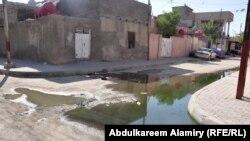 طفح مياه المجاري في حي بالبصرة