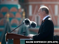 Putin delivers his speech during the Victory Day ceremonies in Moscow on May 9.