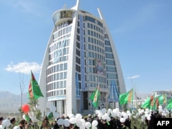 "Opening celebrations for a new public building in Ashgabat, the ""White City"""