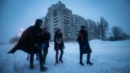 Ukraine -- Ukrainian scouting Plast children. Kolyada in Avdeyivka, Donetsk region, 07Jan2019